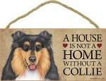 Collie Indoor Dog Breed Sign Plaque Tri Color - A House Is Not A Home + Bonus Coaster