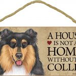 Collie Indoor Dog Breed Sign Plaque Tri Color – A House Is Not A Home + Bonus Coaster 1
