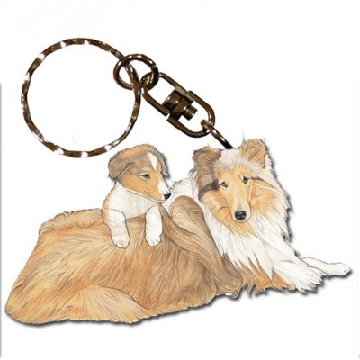 Collie Wooden Dog Breed Keychain Key Ring 1