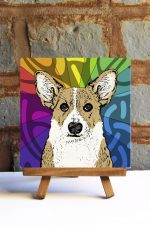 Corgi Pembroke Light Tan Colorful Portrait Original Artwork on Ceramic Tile 4x4 Inches