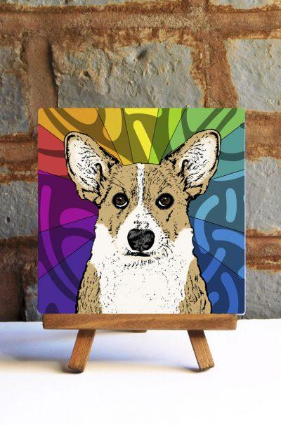 Corgi Pembroke Light Tan Colorful Portrait Original Artwork on Ceramic Tile 4x4 Inches