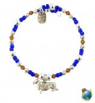 Corgi Beaded Charm Bracelet Silver Handmade