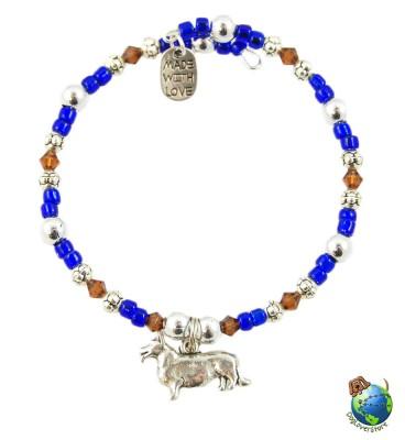 Corgi Beaded Charm Bracelet Silver Handmade 1