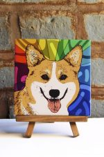 Corgi Pembroke Colorful Portrait Original Artwork on Ceramic Tile 4x4 Inches