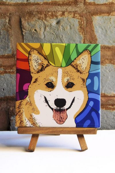 Corgi Pembroke Colorful Portrait Original Artwork on Ceramic Tile 4x4 Inches