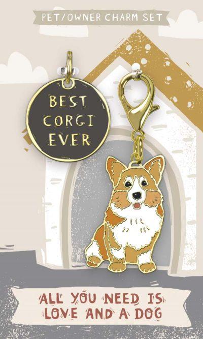 Corgi Collar Charm and Keychain Set
