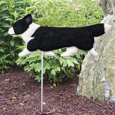Corgi Pembroke Garden Stake Outdoor Sign Black & White