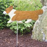 Corgi Garden Stake Outdoor Sign Pembroke Blonde & White