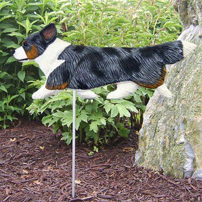 Corgi Garden Stake Outdoor Sign Blue & White