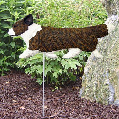 Corgi Garden Stake Outdoor Sign Pembroke Brindle & White