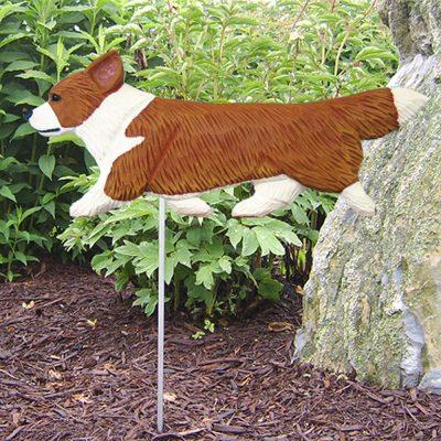 Corgi Garden Stake Outdoor Sign Pembroke Red & White