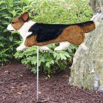 Corgi Garden Stake Outdoor Sign Pembroke Sable - Black - Brown - White