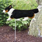 Corgi Garden Stake Outdoor Sign Pembroke Tri Color - Black Brown White