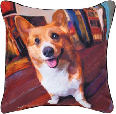 Corgi Artistic Throw Pillow 18X18""