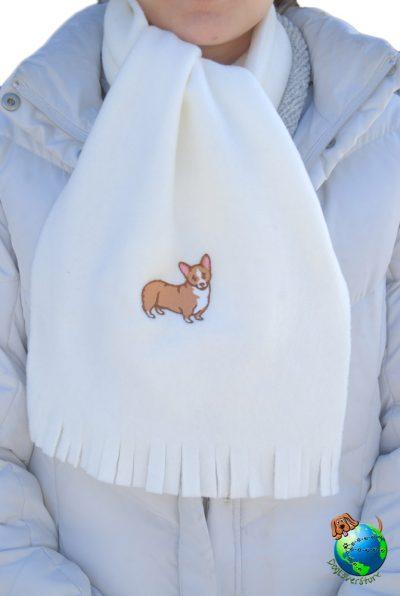 Corgi Scarf Cream Fleece