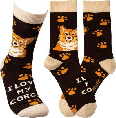 I Love My Corgi Socks By Kathy