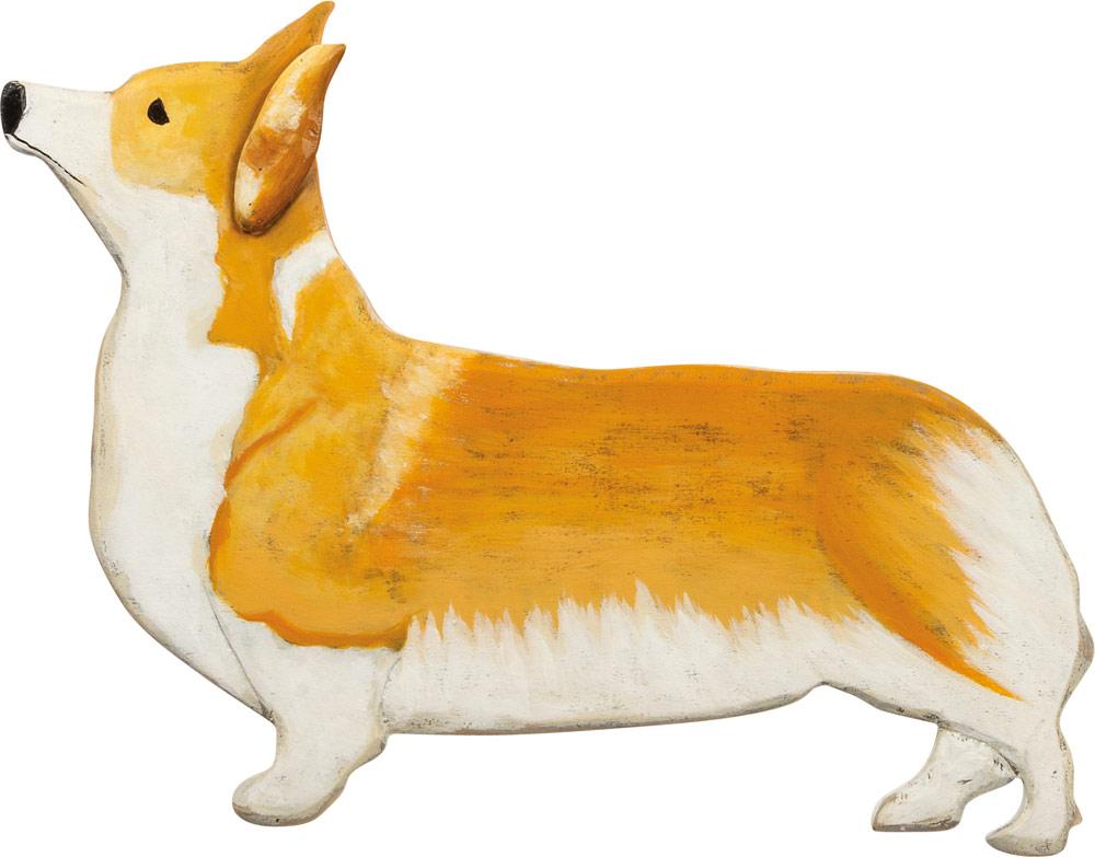 Corgi Wood Wall Plaque Figure