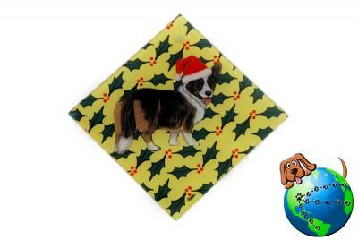 Corgi Cardigan Dog Crystal Glass Holiday Christmas Ornament 1