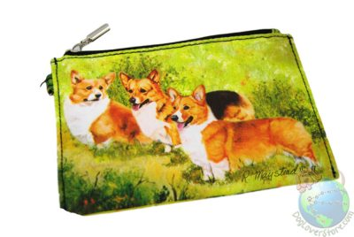Corgis in Yard Design on Wallet Zippered Pouch