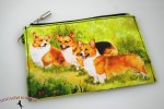 Corgi Dog Bag Zippered Pouch Travel Makeup Coin Purse