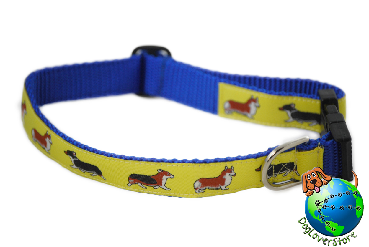 "Welsh Corgi Dog Breed Adjustable Nylon Collar Medium 11-19"" Yellow"