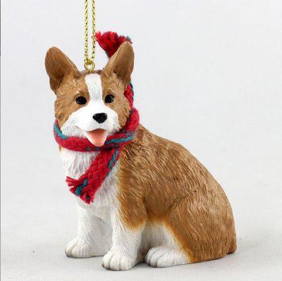 Welsh Corgi Dog Christmas Ornament Scarf Figurine Pembroke 1