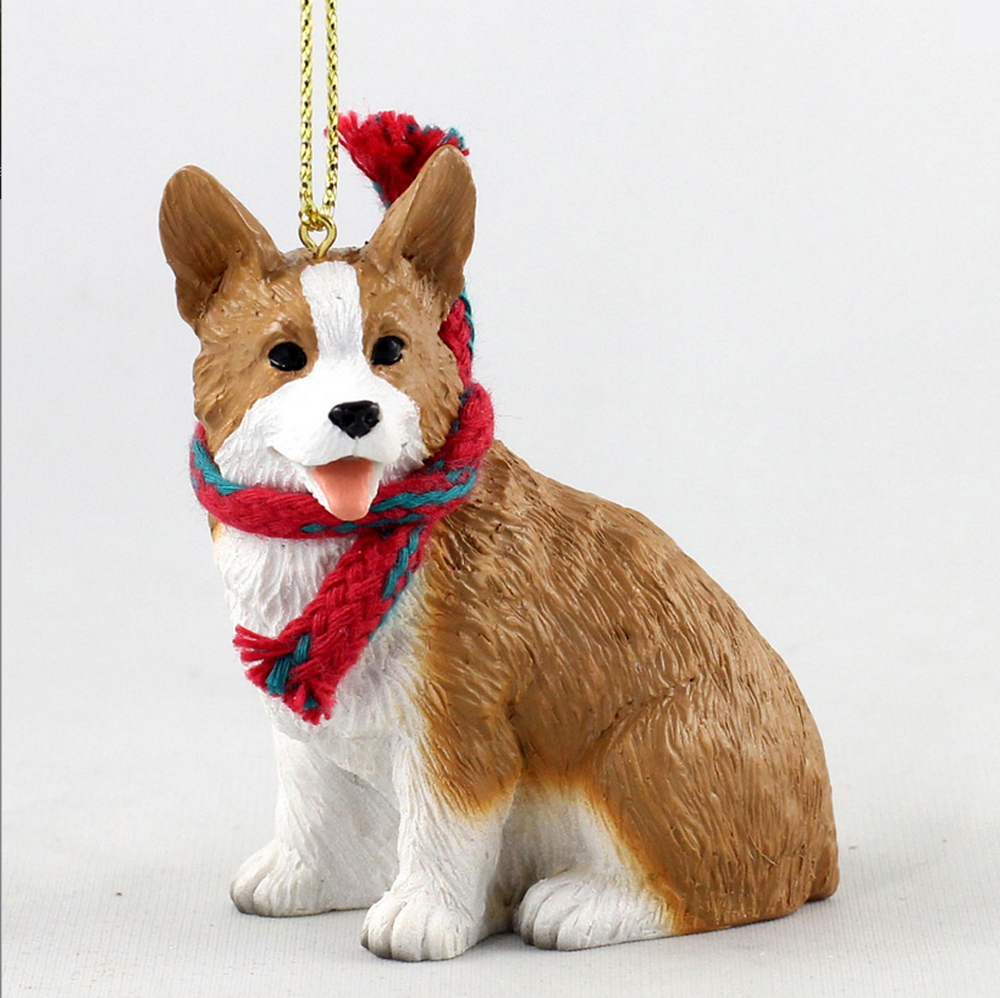 welsh corgi christmas scarf ornament pembroke - Corgi Christmas Ornaments