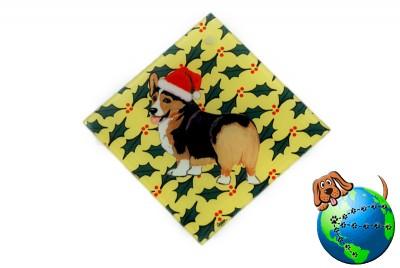 Corgi Pembroke Dog Crystal Glass Holiday Christmas Ornament Tri 1