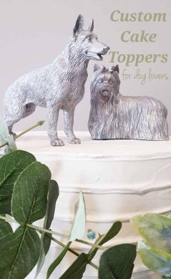 Custom Painted Dog Wedding Cake Toppers