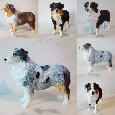 Custom Painted Australian Shepherd Figurines