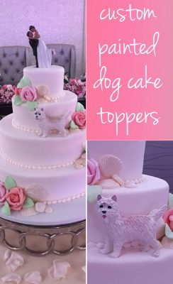 Custom Painted Wedding Dog Cake Toppers