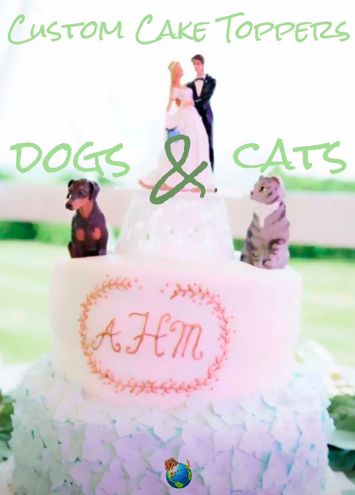 Custom Painted Dog & Cat Figurines as Cake Toppers