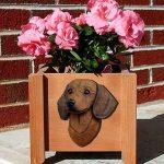 Dachshund Planter Flower Pot Brown 1