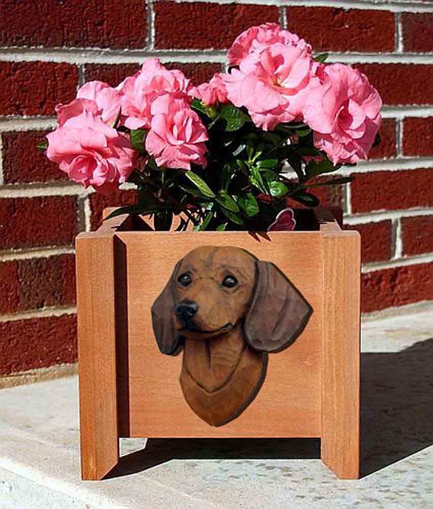 Dachshund Planter Flower Pot Brown