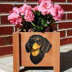 Dachshund Planter Flower Pot Black Tan 1