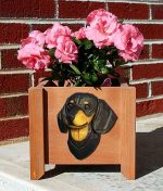 Dachshund Planter Flower Pot Black Tan