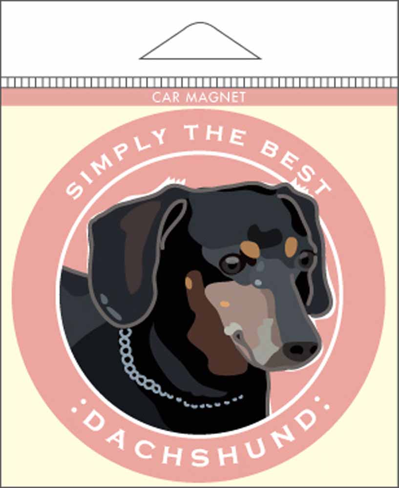 "Dachshund Car Magnet 4x4"" Black"
