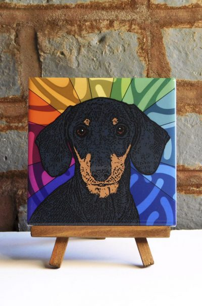 Dachshund Black Smooth Coat Colorful Portrait Original Artwork on Ceramic Tile 4x4 Inches