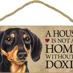 Dachshund Indoor Dog Breed Sign Plaque – A House Is Not A Home Blk/Tan + Bonus Coaster 1