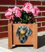 Dachshund Planter Flower Pot Blue Dapple