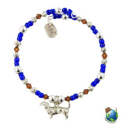 Dachshund Beaded Charm Bracelet Silver Handmade 1