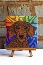Dachshund Brown/Red Smooth Coat Colorful Portrait Original Artwork on Ceramic Tile 4x4 Inches