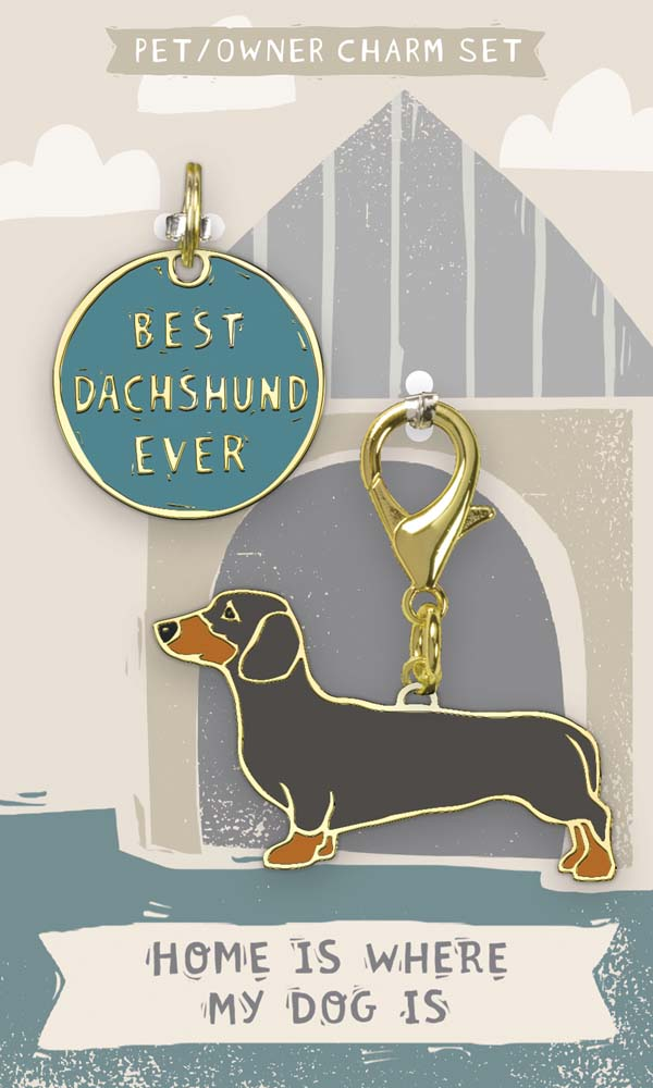 Dachshund Collar Charm and Keychain Set