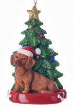 Dachshund Christmas Tree Ornament Red
