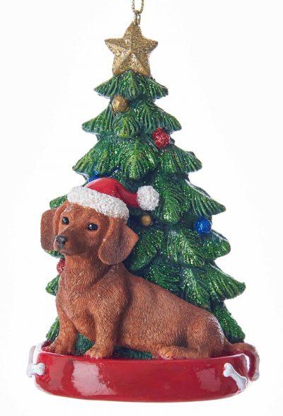 Dachshund Christmas Tree Ornament Red