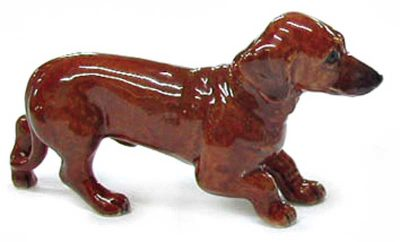 Dachshund Hand Painted Porcelain Figurine Puppy Red