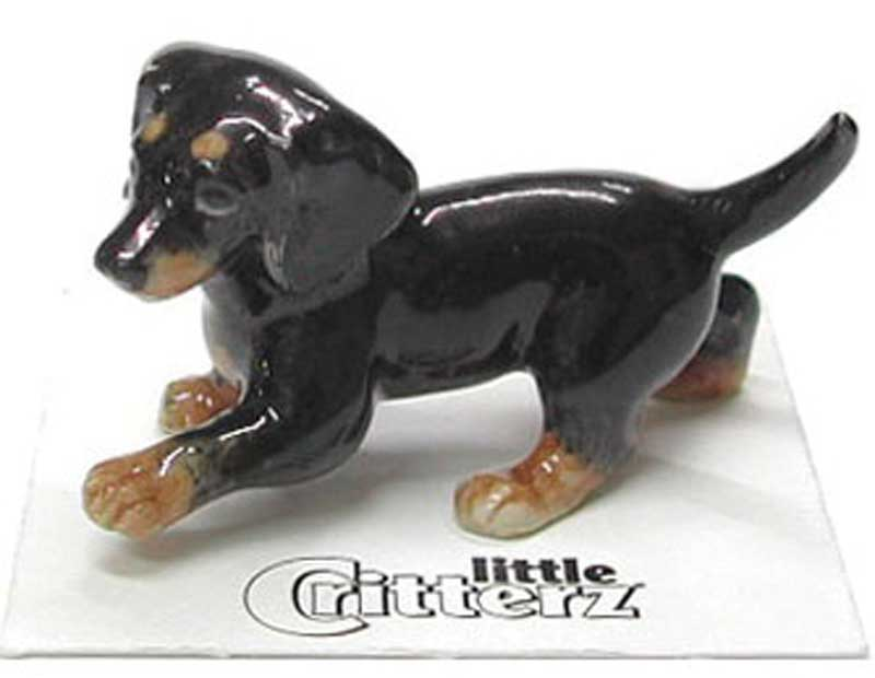 Dachshund Hand Painted Porcelain Miniature Figurine