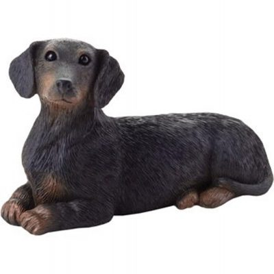 Dachshund Figurine Hand Painted Black - Sandicast