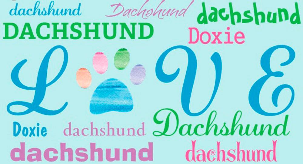 Dachshund Rectangular Magnet That Says Love & Dachshund in a Pattern