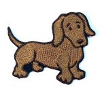 Dachshund Iron on Embroidered Patch Red